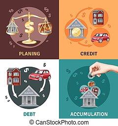 plat, icônes concept, crédit, 4, dette