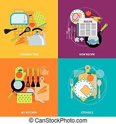plat, icônes concept, cuisine, carrée, 4