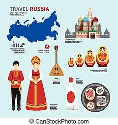 plat, icônes concept, voyage, illustration, conception, repère, .vector, russie