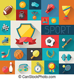 plat, icônes, conception, fond, sport, style.