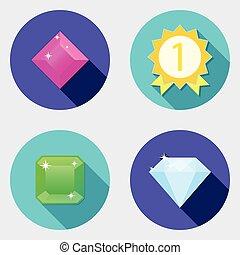 plat, icônes, conception, interface utilisateur, 4