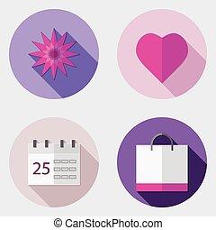plat, icônes, conception, interface utilisateur, 5