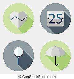 plat, icônes, conception, interface utilisateur, 8