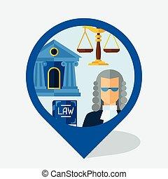 plat, icônes, conception, marqueur, droit & loi, navigation,...