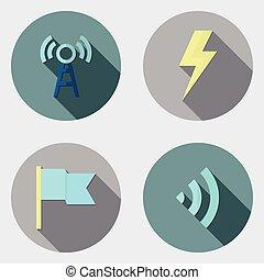 plat, icônes, conception, utilisateur, 6, interface