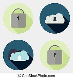 plat, icônes, conception, utilisateur, 7, interface