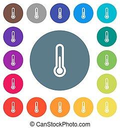 plat, icônes, couleur, arrière-plans, thermomètre, blanc, rond