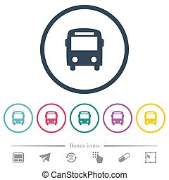 plat, icônes, couleur, autobus, grands traits, rond