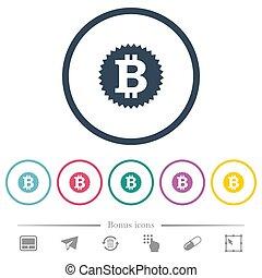 plat, icônes, couleur, autocollant, bitcoin, rond, grands traits