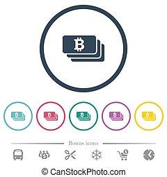 plat, icônes, couleur, bitcoin, grands traits, rond