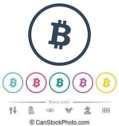plat, icônes, couleur, bitcoin, rond, cryptocurrency, numérique, grands traits