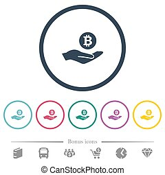 plat, icônes, couleur, bitcoin, rond, revenus, grands traits