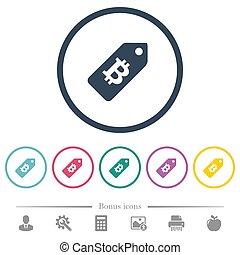 plat, icônes, couleur, coût, bitcoin, étiquette, rond, grands traits