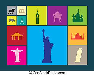 plat, icônes, couleur, coloré, célèbre, fond, repères