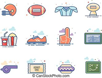 plat, icônes, couleur, football, -, américain