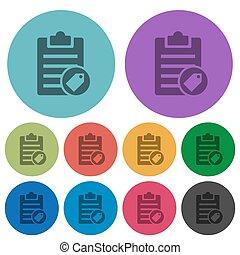 plat, icônes, couleur, note, étiquetage, plus sombre