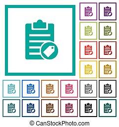 plat, icônes, couleur, note, quadrant, cadres, étiquetage