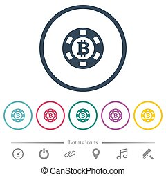 plat, icônes, couleur, puce, casino, bitcoin, rond, grands traits