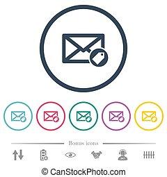 plat, icônes, couleur, rond, courrier, grands traits,...