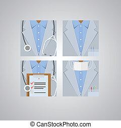 plat, icônes, docteur