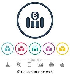 plat, icônes financières, couleur, graphique, bitcoin, rond, grands traits