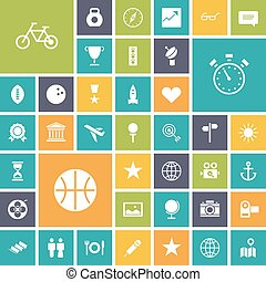 plat, icônes, loisir, voyage, conception, sport