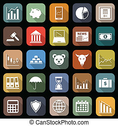 plat, icônes, long, ombre, marché, stockage