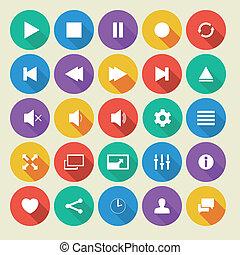 plat, icônes,  média,  long, joueur, vecteur, ombre