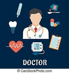 plat, icônes médicales, docteur