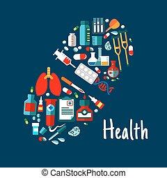 plat, icônes, médicaments, forme, healthcare, pilule
