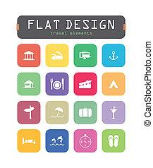 plat, icônes, mobile, applications, ui, toile, spécial