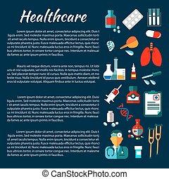 plat, icônes, monde médical, conception, healthcare, bannière