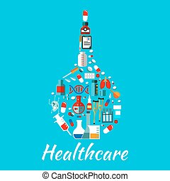 plat, icônes, monde médical, healthcare, lavement, symbole