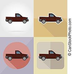 plat, icônes, pick-up, illustration, vecteur, transport