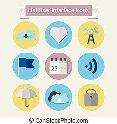 plat, icônes, pour, interface utilisateur, 1