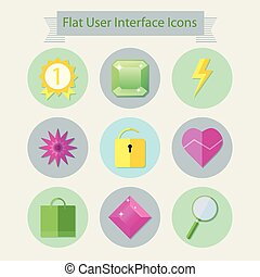 plat, icônes, pour, interface utilisateur, 2