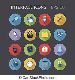 plat, icônes, pour, interface