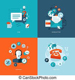 plat, icônes, pour, toile, communications