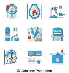 plat, icônes, simple, couleur, vecteur, mri