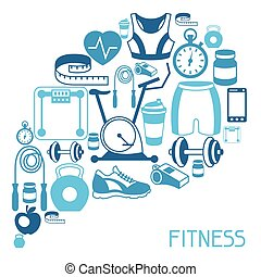 plat, icônes, sports, fond, fitness, style.
