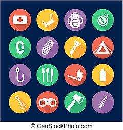 plat, icônes, trousse survie, conception, cercle