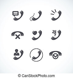 plat, icônes, tube, collection, téléphone, vecteur
