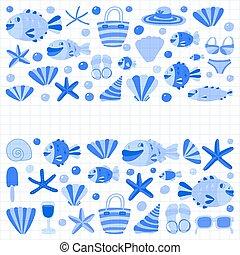plat, icônes, vacances, main, exotique, vecteur, dessiné, plage