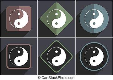 plat, icônes, vecteur, conception, toile, yang ying