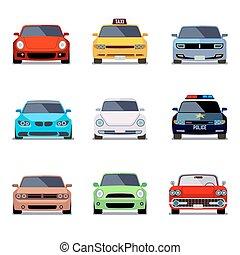 plat, icônes, voiture, vecteur, vue frontale