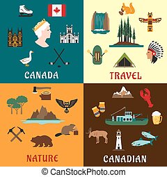 plat, icônes voyage, canadien, nature