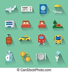 plat, icônes voyage