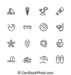 plat, icônes, voyage, -, vecteur, mer