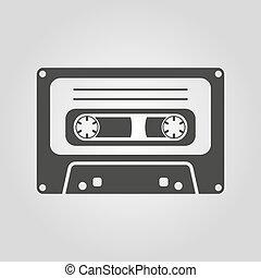 plat, icon., cassette, symbole., bande