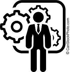 plat, icon., management, integratie, design.